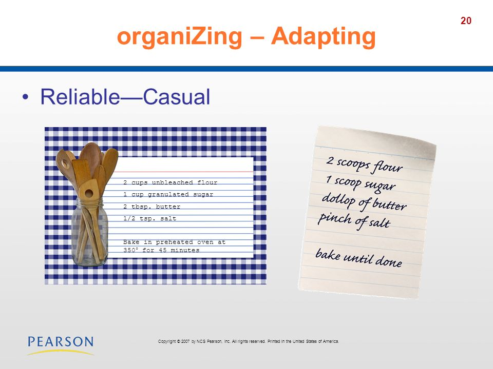 organiZing – Adapting Reliable—Casual 2 cups unbleached flour