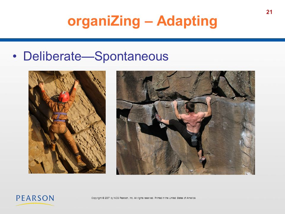 organiZing – Adapting Deliberate—Spontaneous