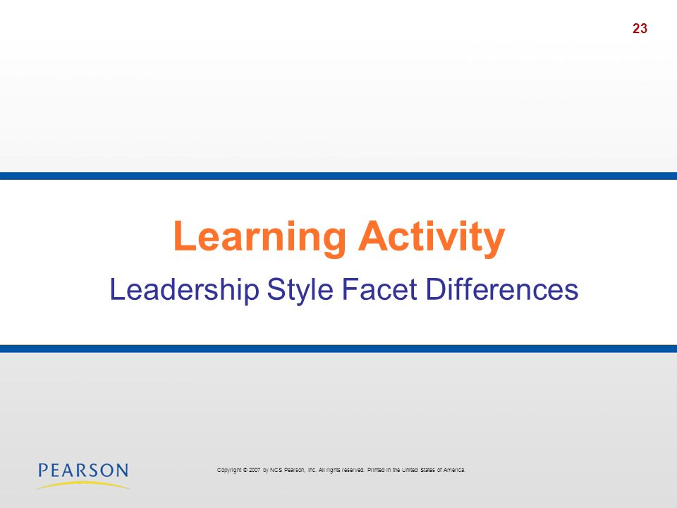 Learning Activity Leadership Style Facet Differences