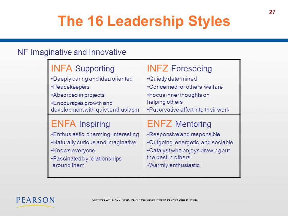 The 16 Leadership Styles INFA Supporting INFZ Foreseeing