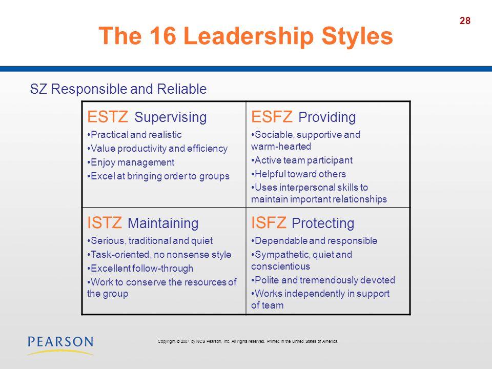 The 16 Leadership Styles ESTZ Supervising ESFZ Providing