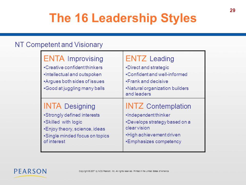 The 16 Leadership Styles ENTA Improvising ENTZ Leading INTA Designing