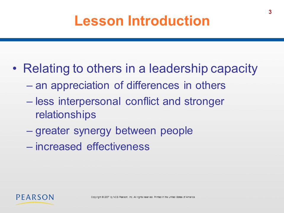 Lesson Introduction Relating to others in a leadership capacity
