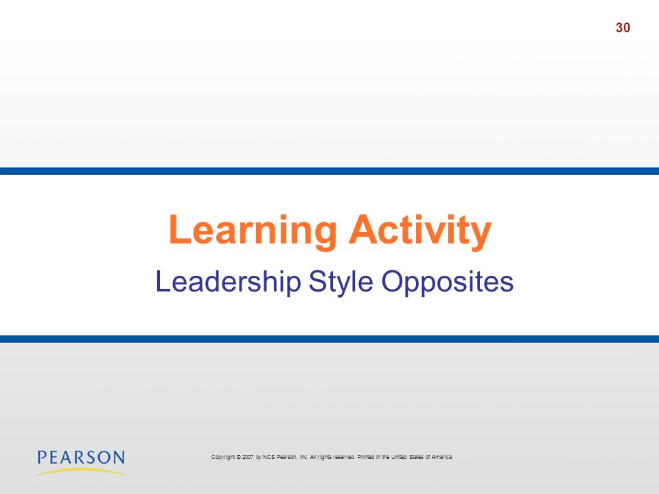 Learning Activity Leadership Style Opposites