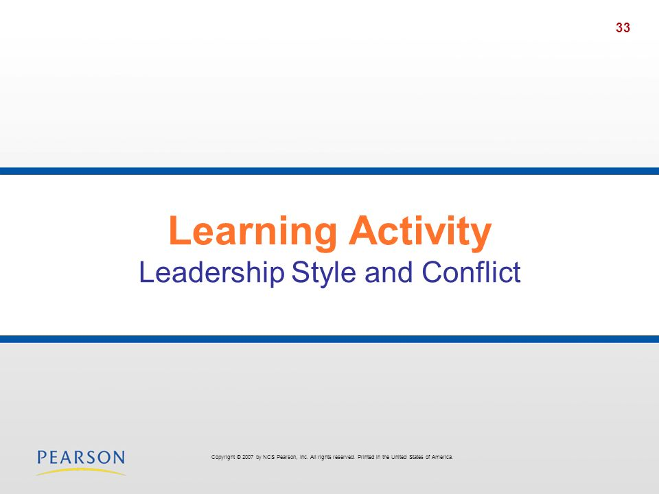 Learning Activity Leadership Style and Conflict