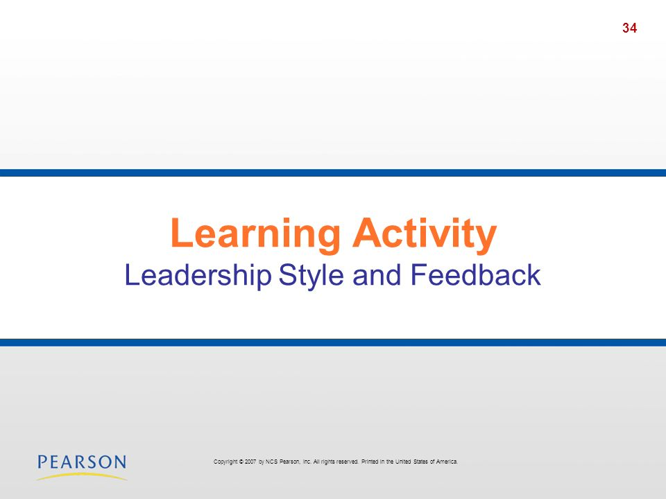 Learning Activity Leadership Style and Feedback