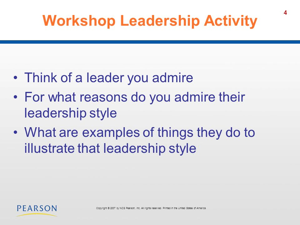 Workshop Leadership Activity