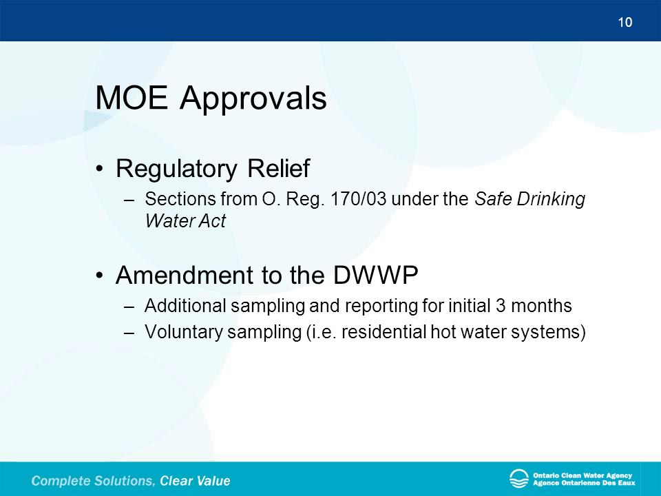 MOE Approvals Regulatory Relief Amendment to the DWWP
