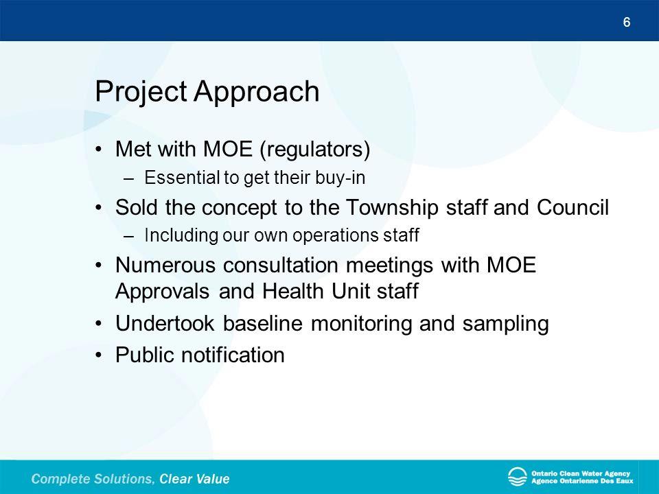 Project Approach Met with MOE (regulators)