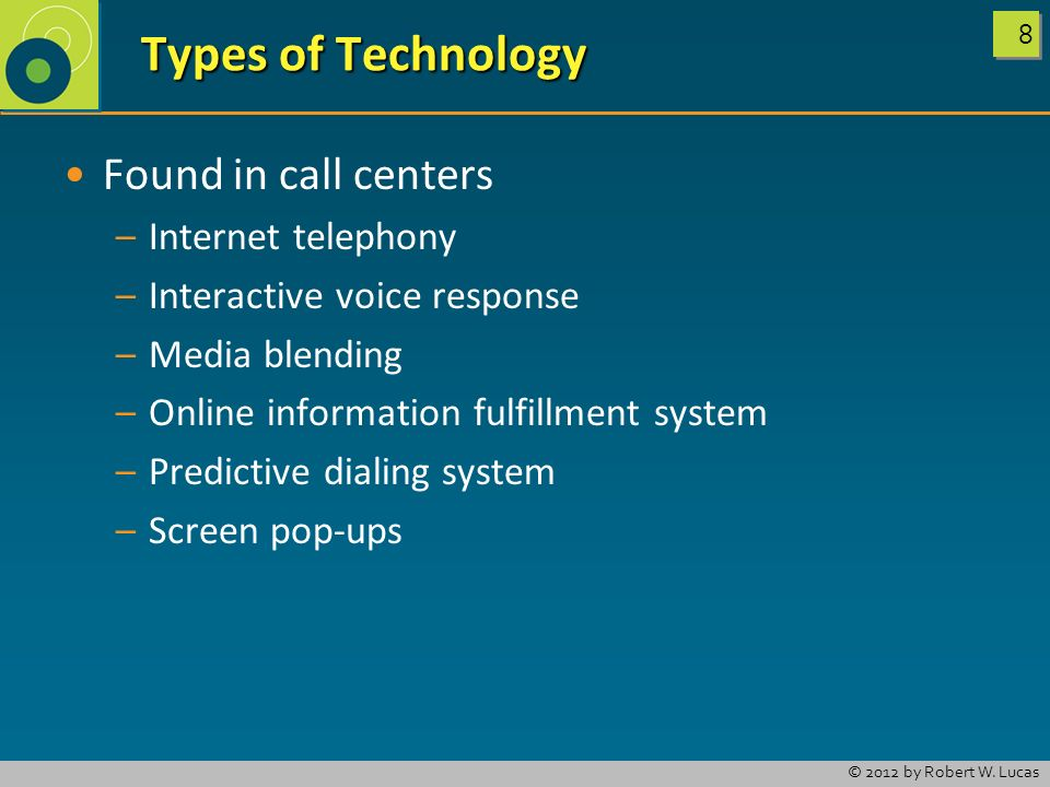 Types of Technology Found in call centers Internet telephony