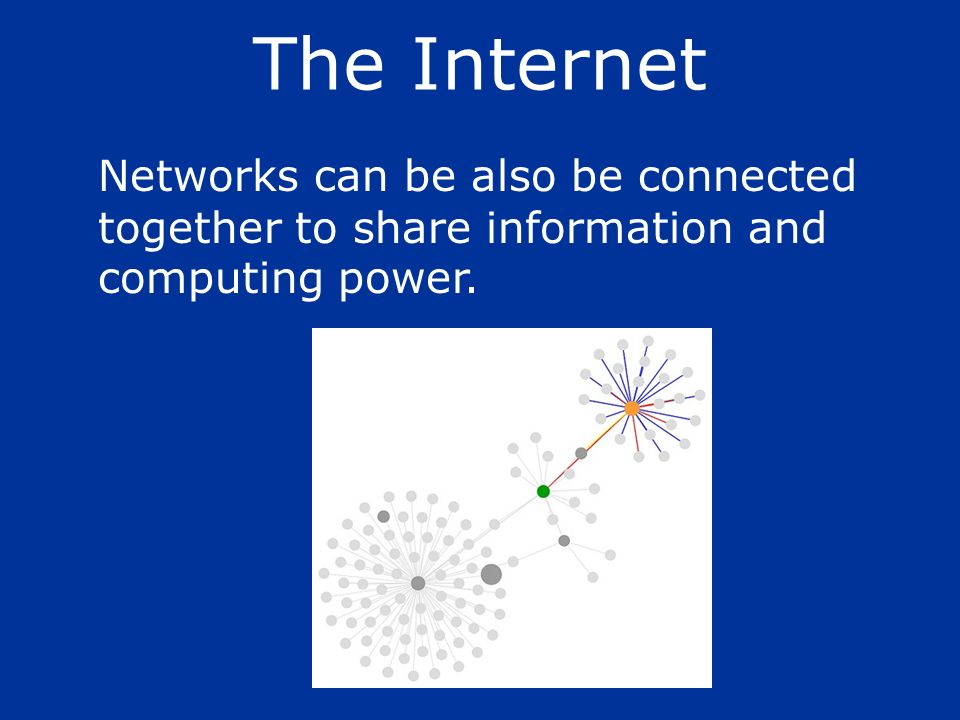 The Internet Networks can be also be connected together to share information and computing power.