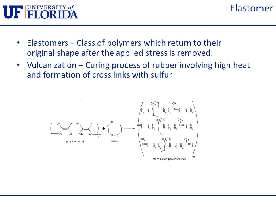 ElastomerElastomers – Class of polymers which return to their original shape after the applied stress is removed.