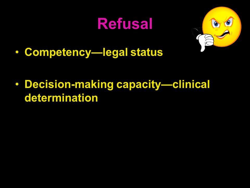 Refusal Competency—legal status