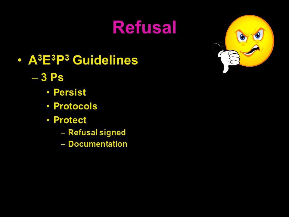 Refusal A3E3P3 Guidelines 3 Ps Persist Protocols Protect