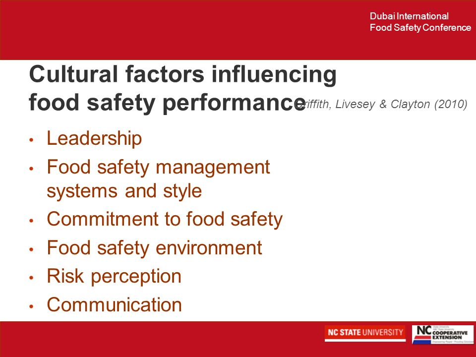 Cultural factors influencing food safety performance