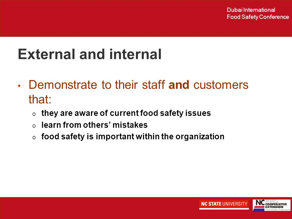 External and internal Demonstrate to their staff and customers that:
