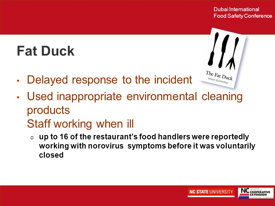 Fat Duck Delayed response to the incident