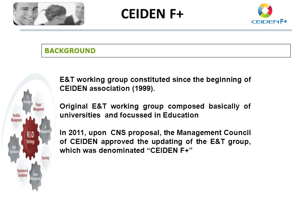 CEIDEN F+ BACKGROUND. E&T working group constituted since the beginning of CEIDEN association (1999).