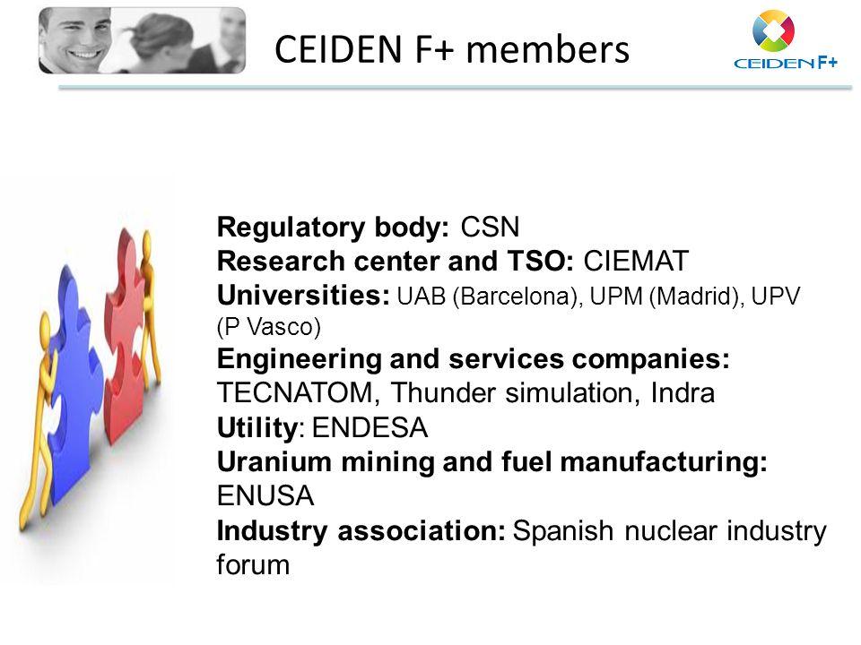CEIDEN F+ members Regulatory body: CSN Research center and TSO: CIEMAT