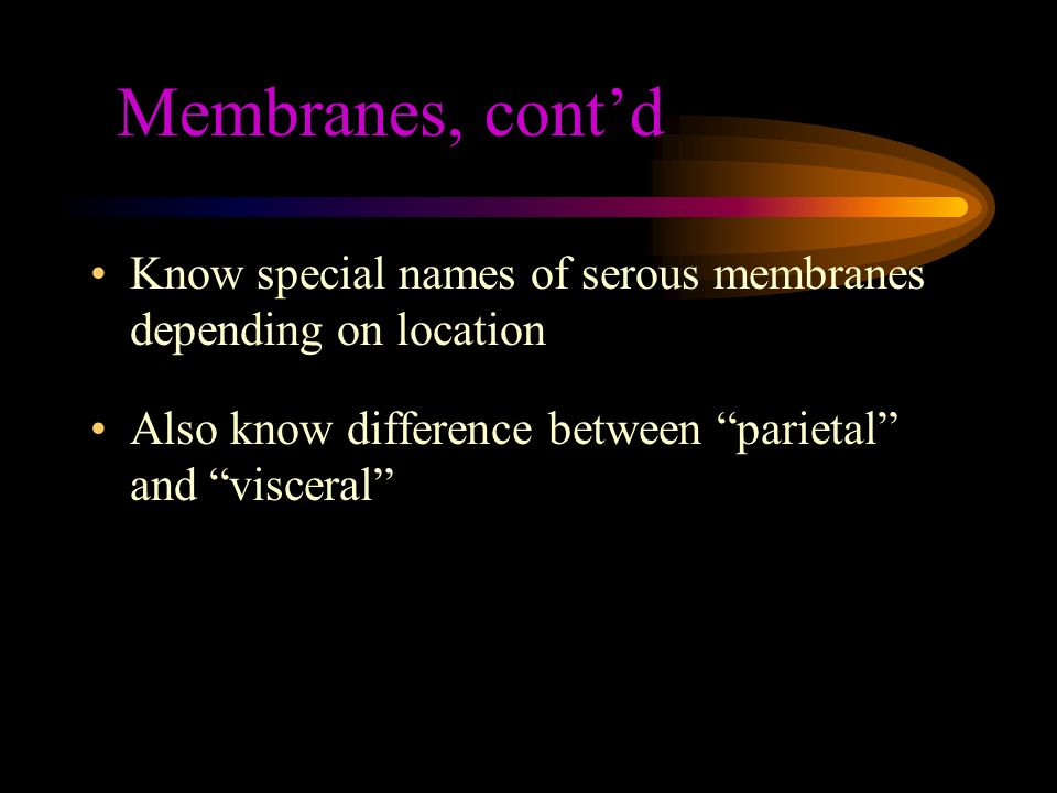 Membranes, cont'd Know special names of serous membranes depending on location.