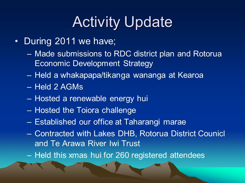 Activity Update During 2011 we have;