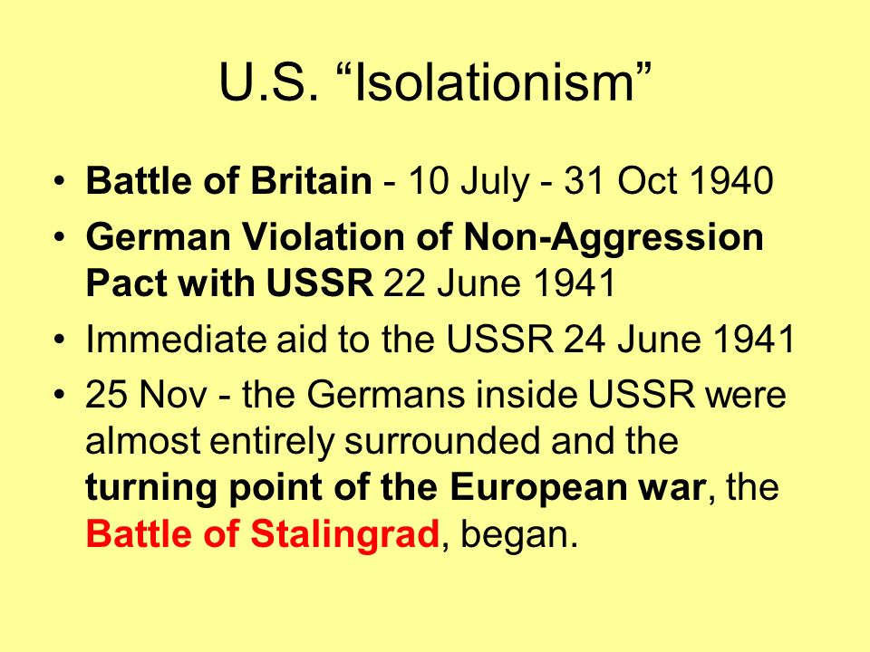 U.S. Isolationism Battle of Britain - 10 July - 31 Oct 1940
