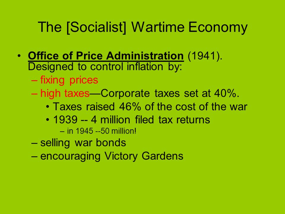 The [Socialist] Wartime Economy