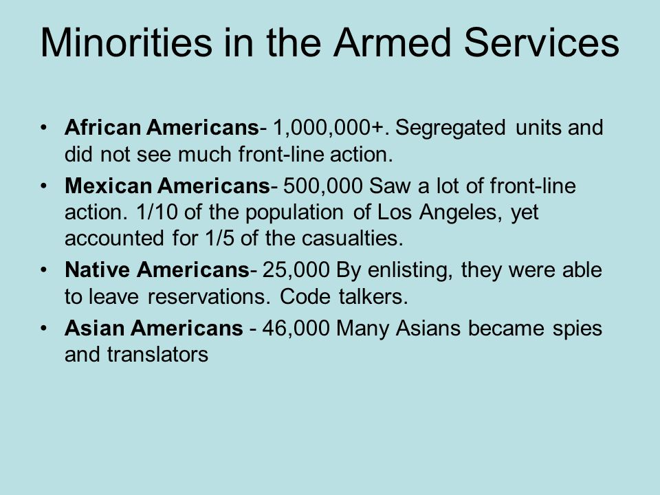 Minorities in the Armed Services