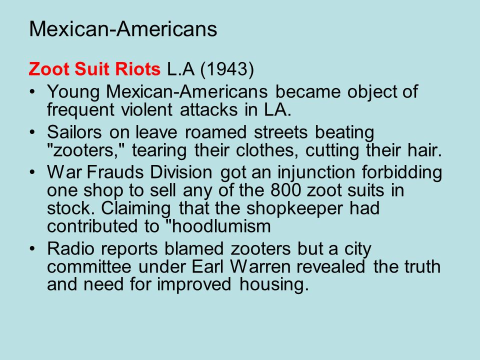 Mexican-Americans Zoot Suit Riots L.A (1943)