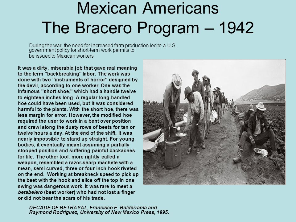 Mexican Americans The Bracero Program – 1942