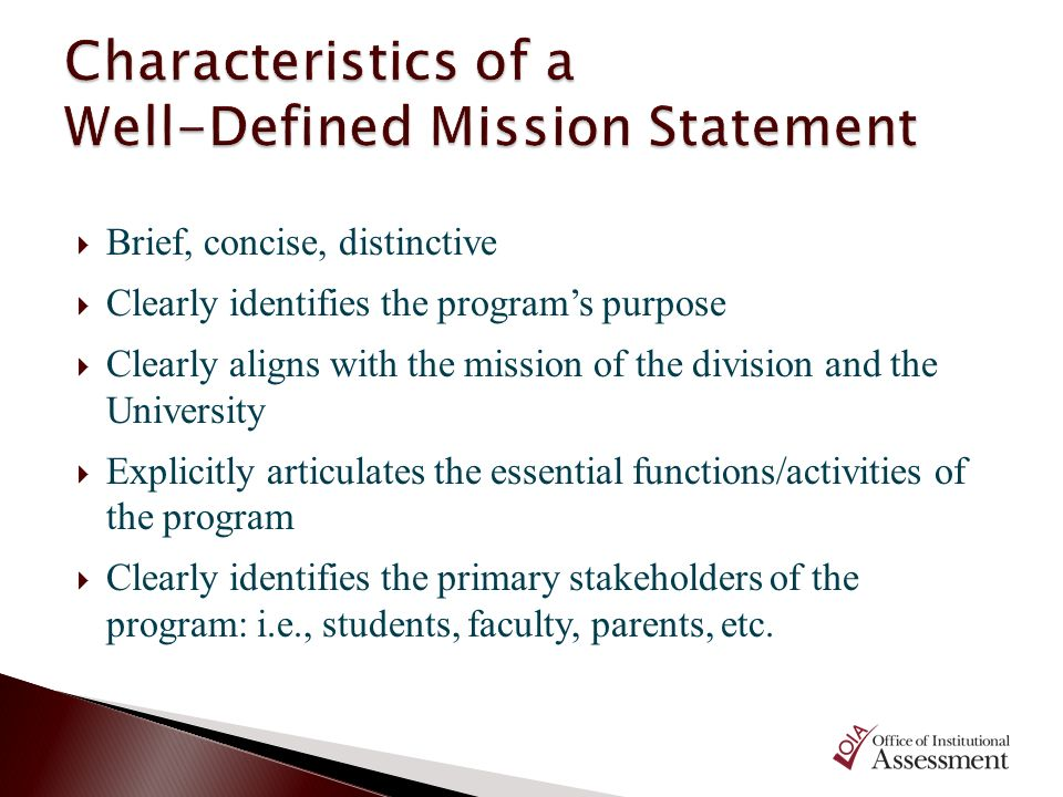 Characteristics of a Well-Defined Mission Statement