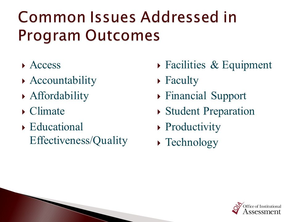 Common Issues Addressed in Program Outcomes