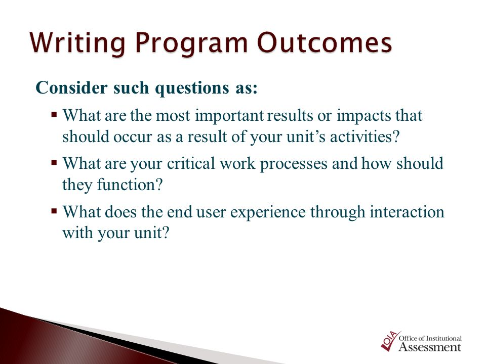 Writing Program Outcomes