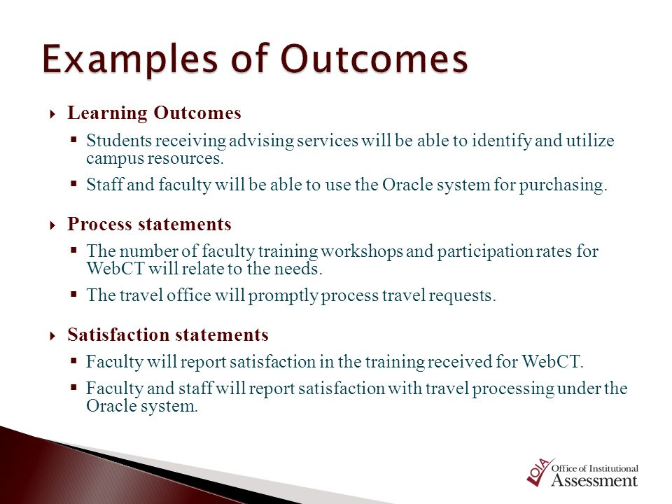 Examples of Outcomes Learning Outcomes Process statements