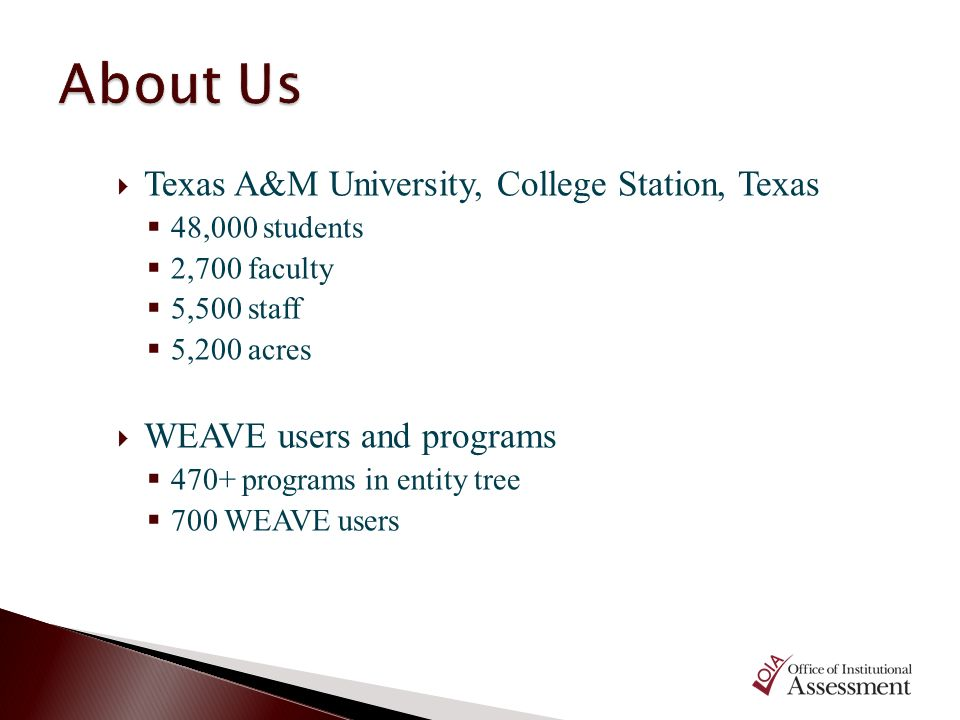 About Us Texas A&M University, College Station, Texas