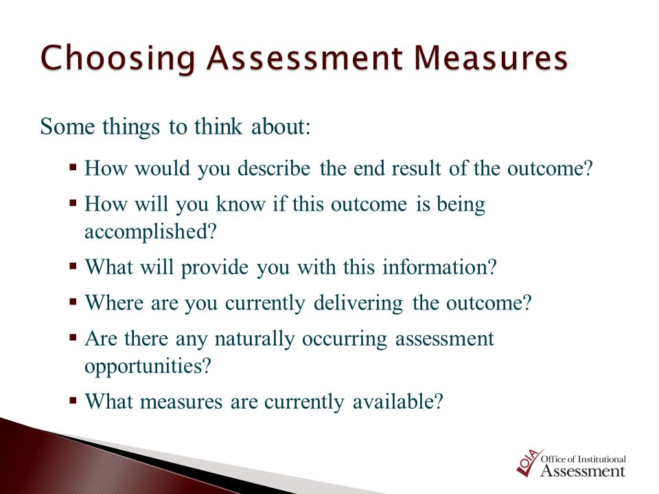 Choosing Assessment Measures