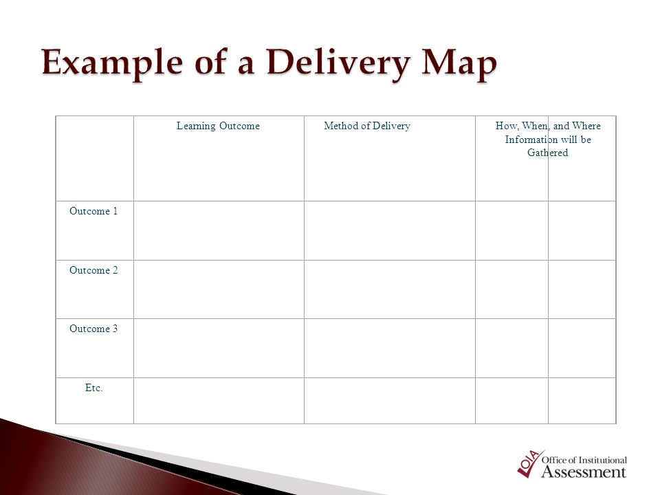 Example of a Delivery Map