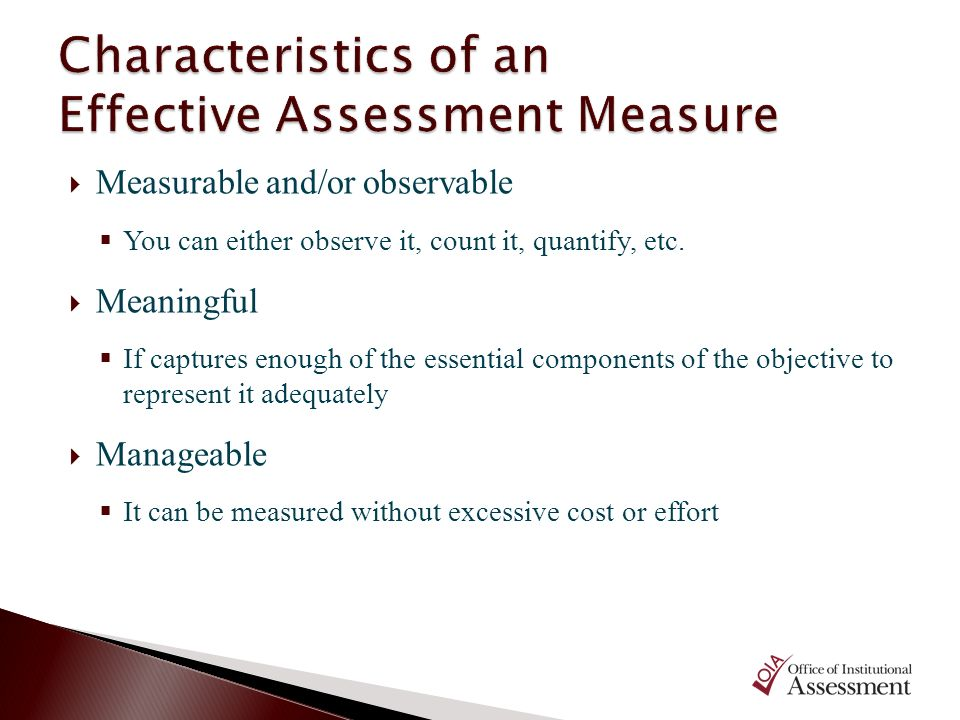 Characteristics of an Effective Assessment Measure