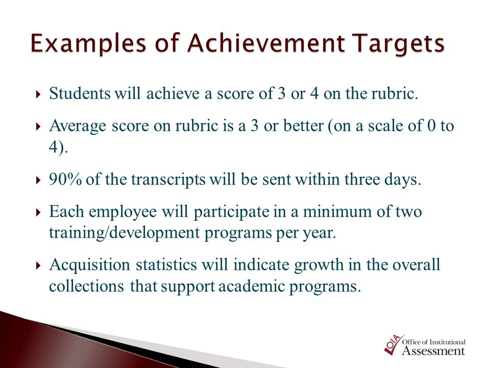 Examples of Achievement Targets