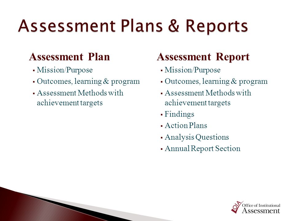 Assessment Plans & Reports