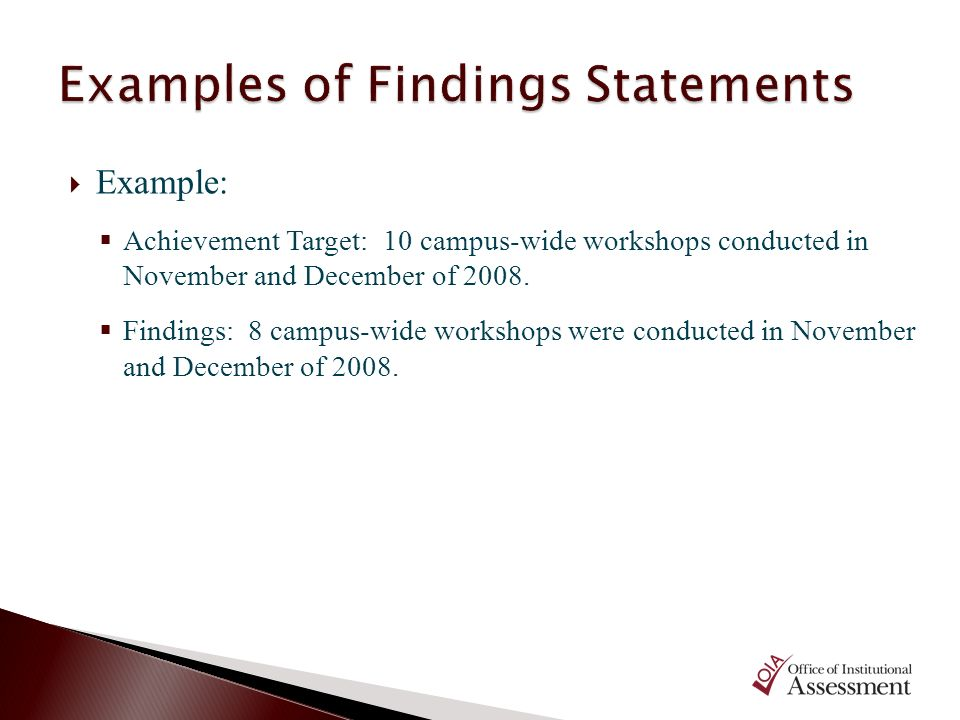 Examples of Findings Statements