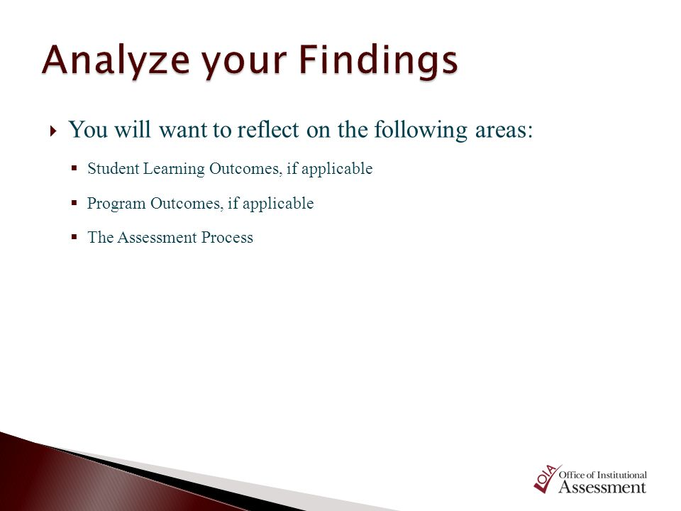 Analyze your Findings You will want to reflect on the following areas: