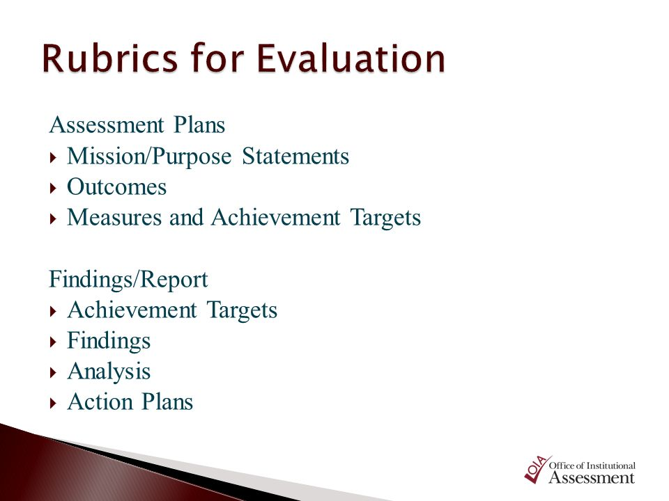 Rubrics for Evaluation