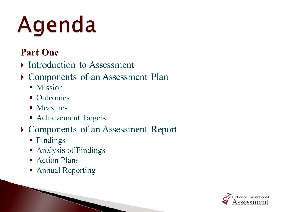 Agenda Part One Introduction to Assessment