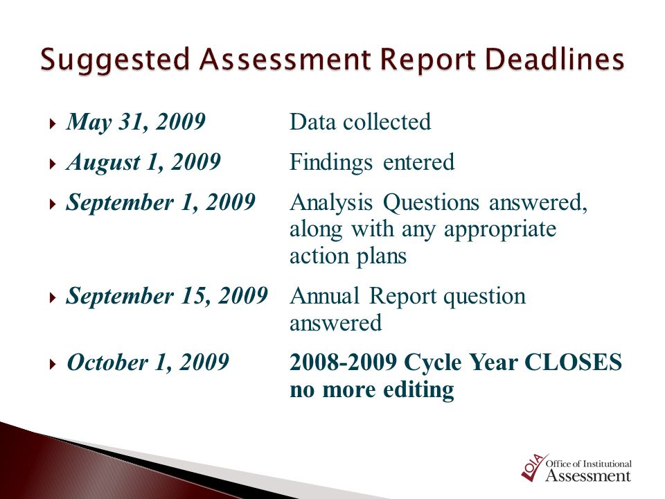 Suggested Assessment Report Deadlines