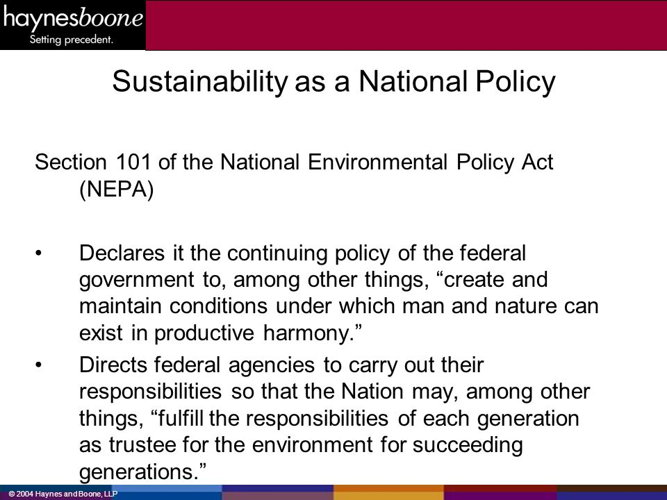 Sustainability as a National Policy