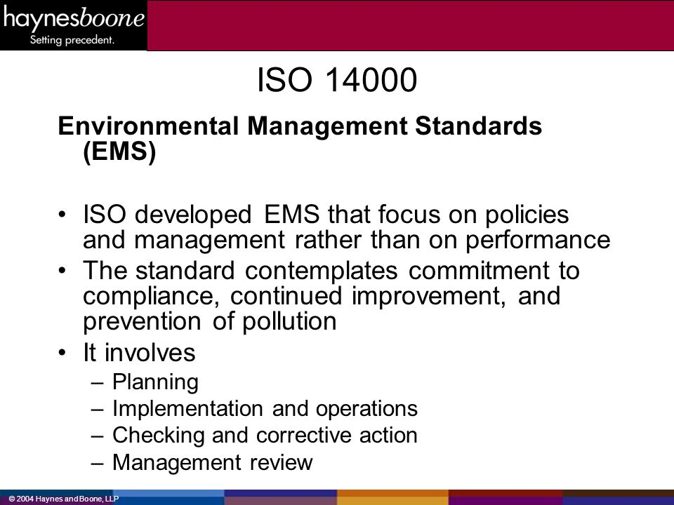 ISO 14000 Environmental Management Standards (EMS)