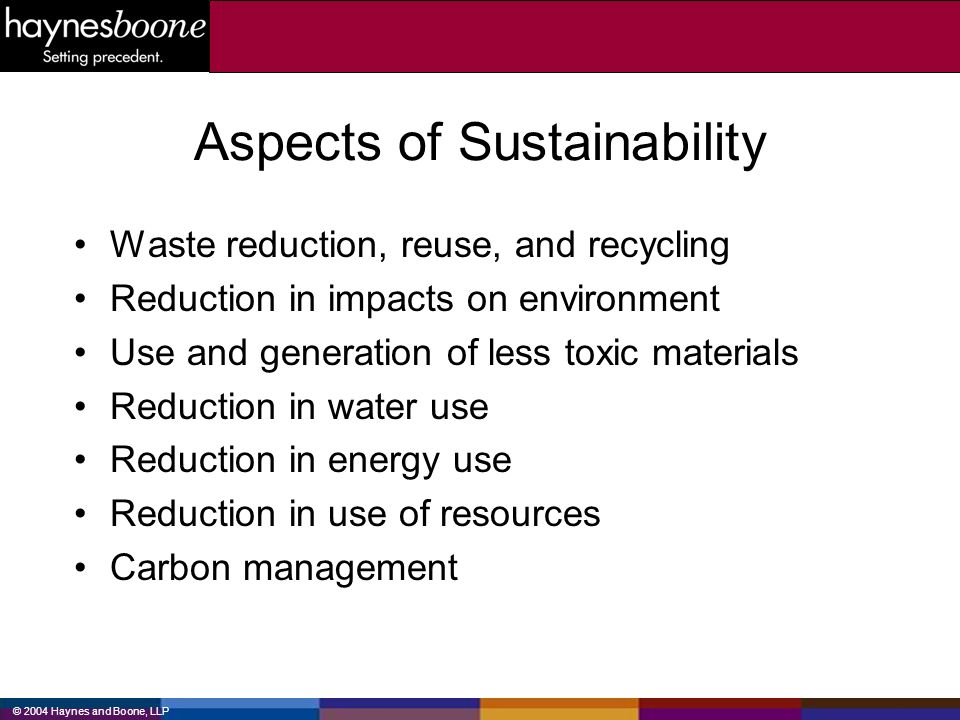 Aspects of Sustainability