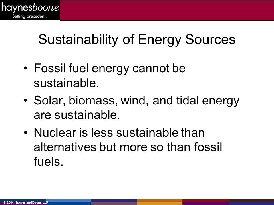 Sustainability of Energy Sources