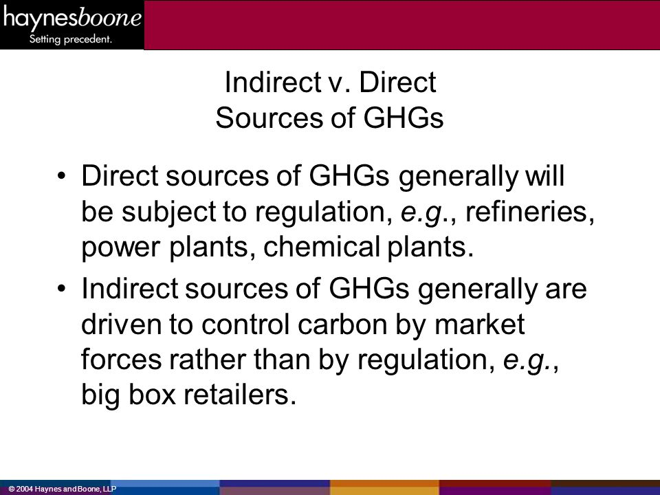 Indirect v. Direct Sources of GHGs